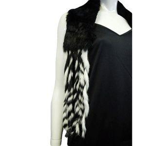 Women's Fur Scarf Black and White (SKU 000073)